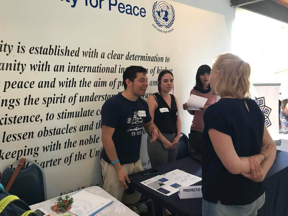 Recruiting volunteers at the Causes Fair at the UN's University for Peace