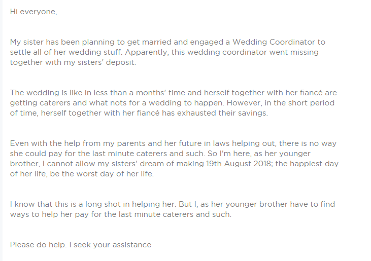 Help For My Sister S Wedding Family Crowdfunding With Gogetfunding