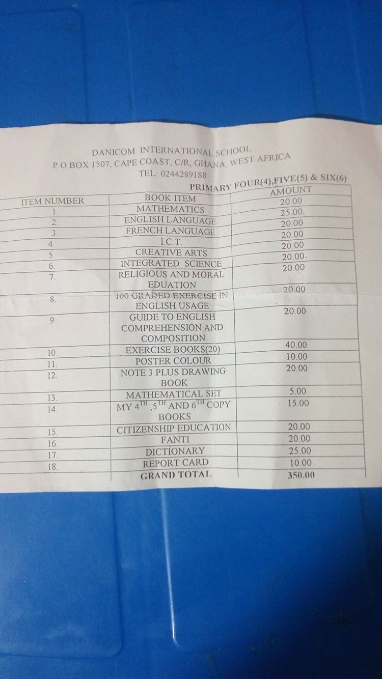 List of school supplies needed. prices in Ghanaian cedis. $1 = C4.70