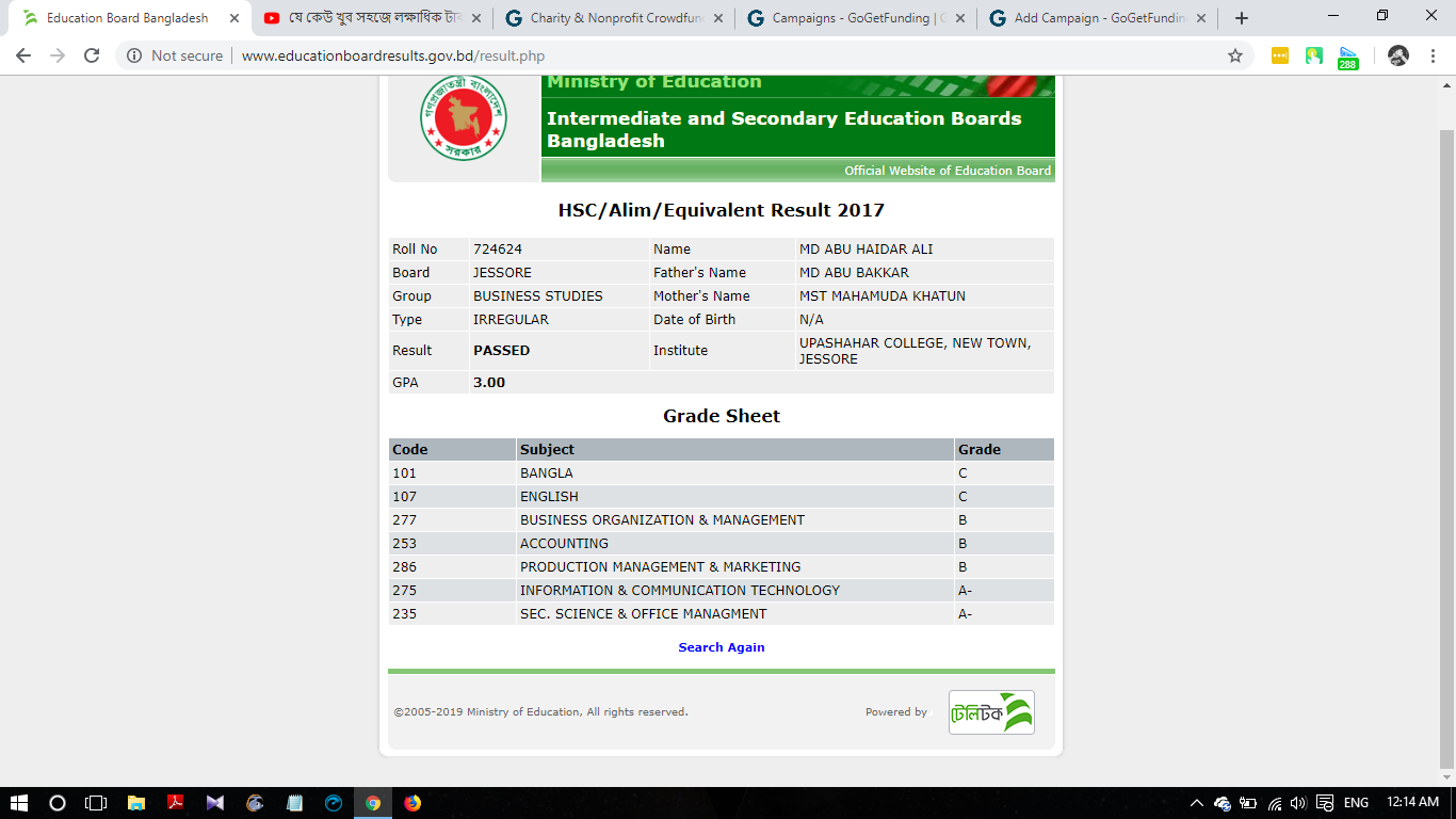 My Higher Secondary Result
