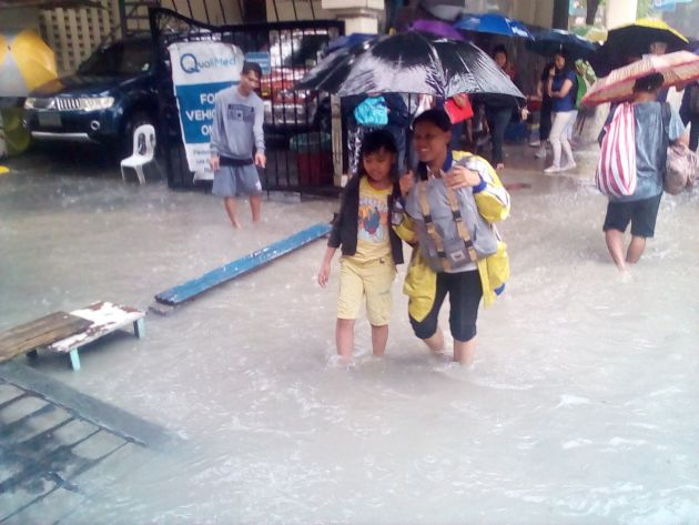 Even the flood can't hinder my wife and son to help me