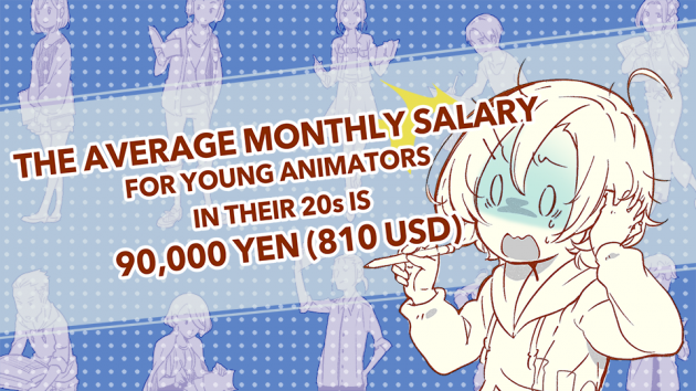 The average monthly salary for a young animator in their 20s is 90,000 yen (about 810 USD)